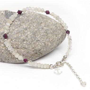 Bracelet fin pierre de lune et grenat, breloque ancre