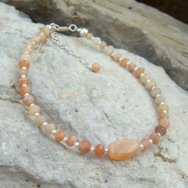 Bracelet pierre de lune et perles argent 925