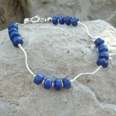 Bracelet lapis lazuli rondelles
