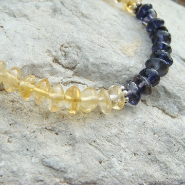 Bracelet iolite et citrine