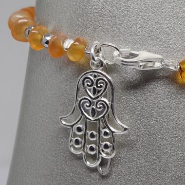 Bracelet agate de feu et hématite avec la main de fatma