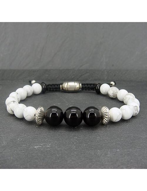 Bracelet homme howlite et onyx grosses perles