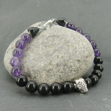 Bracelet homme oeil de taureau et obsidienne