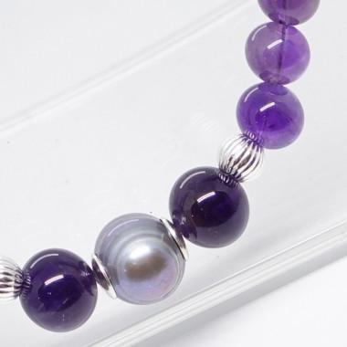 Collier améthyste et grosses perles d'eau douce grises