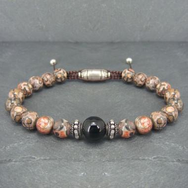 Bracelet homme jaspe léopard et une perle onyx