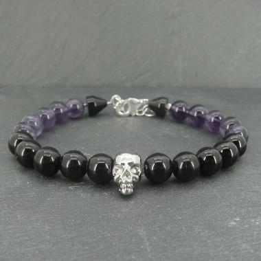 """Améthyste et onyx, Bracelet """"skull"""" homme avec mousqueton"""
