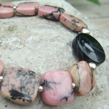 Bracelet rhodonite et onyx