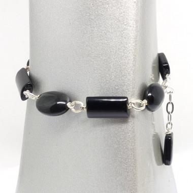 Bracelet perles  obsidienne noire