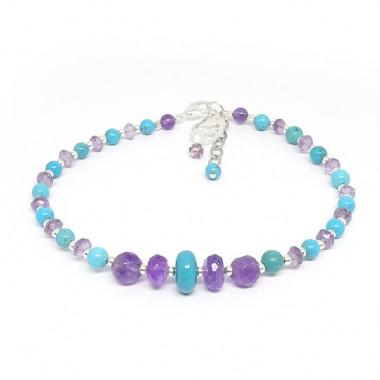 Bracelet turquoise et améthyste facettée, breloque Bouddha