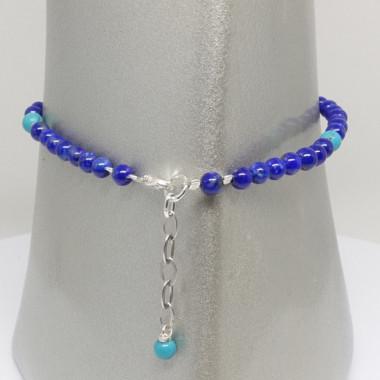 Bracelet lapis lazuli et turquoise, breloque arbre de vie