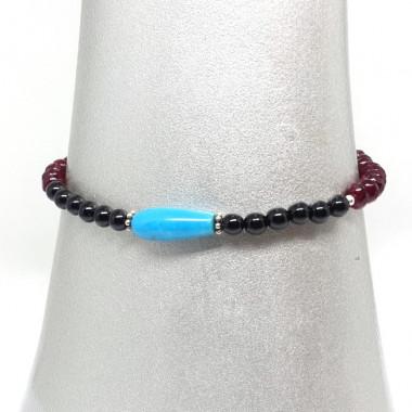 """Bracelet grenat, onyx et turquoise, breloque """"ancre"""""""