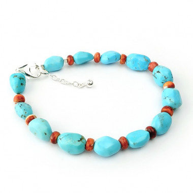 Bracelet corail et perles de turquoise