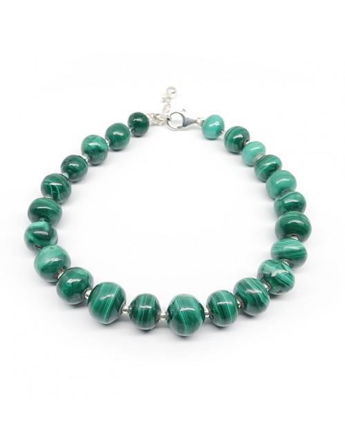 Bracelet malachite, petites perles ag925