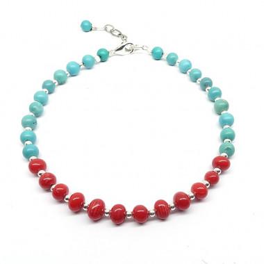 Bracelet corail et turquoise, petites perles ag925
