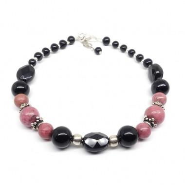 Bracelet rhodonite et onyx, perles facettées et rondes