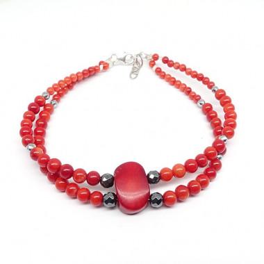 Bracelet double rangs de corail et hématite