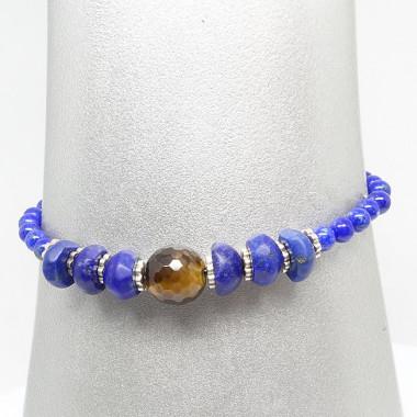 Bracelet lapis lazuli et oeil de tigre