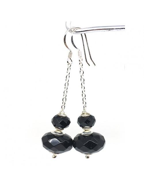 Boucles d'oreilles pendantes en onyx et argent 925