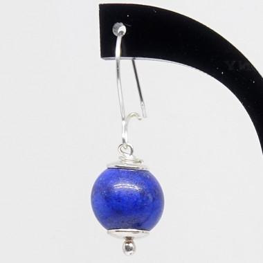 Boucles d'oreilles perles rondes lapis lazuli