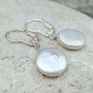 Boucles d'oreilles en perle d'eau douce pastilles