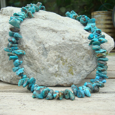 Collier turquoise, perles chips