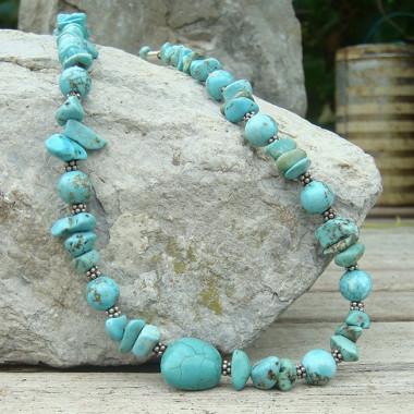 Collier turquoise, mix de perles