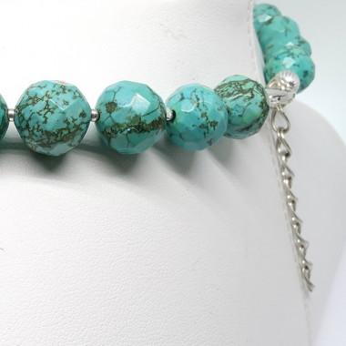 Collier turquoise, perles facettées