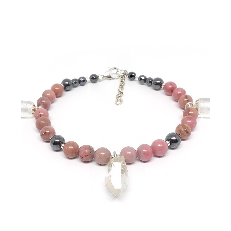Bracelet rhodonite, hématite et cristaux de roche