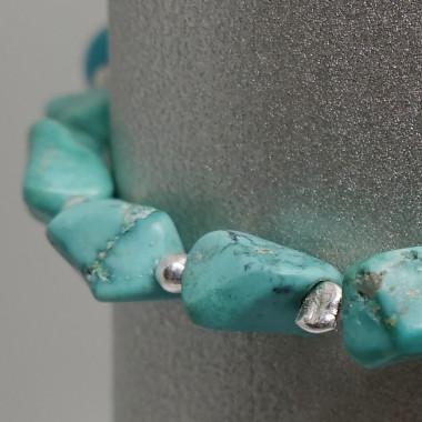Bracelet turquoise et améthyste facettée en breloque