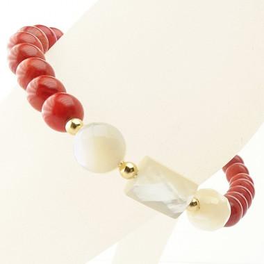 Bracelet corail et nacre