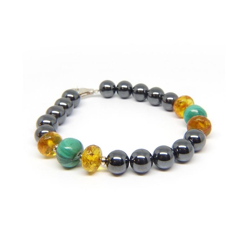 Bracelet hématite, ambre facettée et malachite
