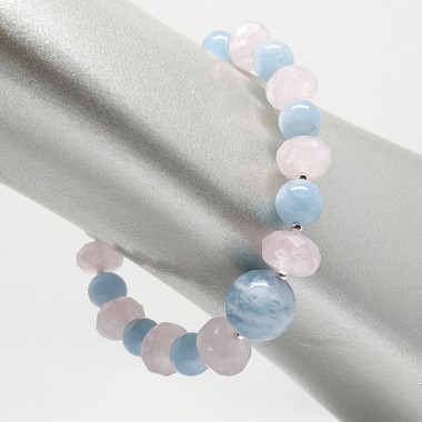 Bracelet aigue-marine et quart rose