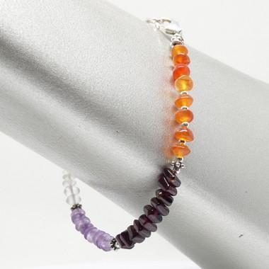 Bracelet grenat, cornaline, améthyste et pierre de lune
