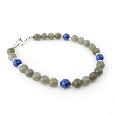 Bracelet labradorite et lapis lazuli