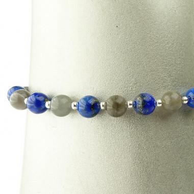 Bracelet labradorite et lapis lazuli, une à une