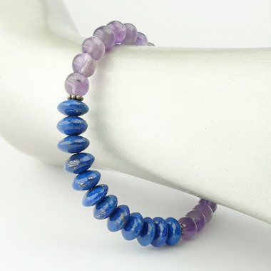 Bracelet lapis lazuli et améthyste rondelles