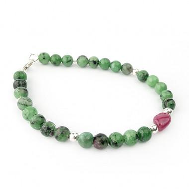 Bracelets zoïsite et perle de rubis