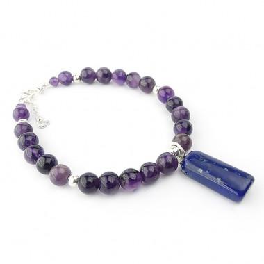 Bracelet améthyste et breloque de lapis lazuli