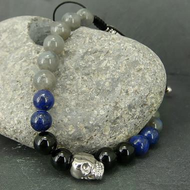 Bracelet homme onyx, lapis lazuli et labradorite