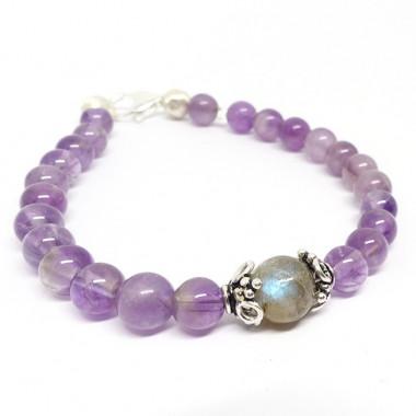Bracelet améthyste, une perle labradorite
