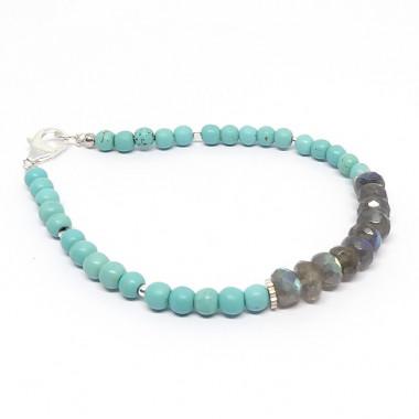 Bracelet turquoise et labradorite facettée