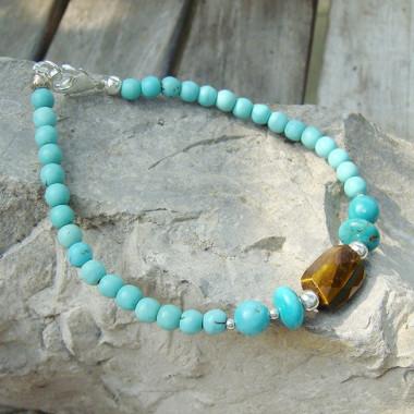 Bracelet turquoise et oeil de tigre