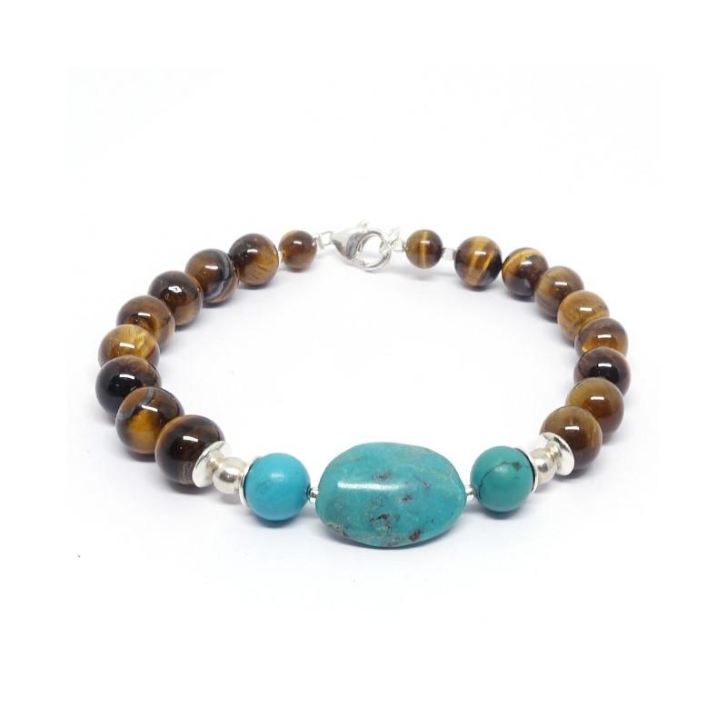 Bracelet oeil de tigre et turquoise