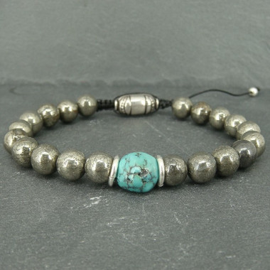 Pyrite et turquoise, Bracelet homme