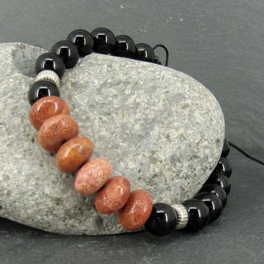 Bracelet homme obsdienne noire et corail gorgone