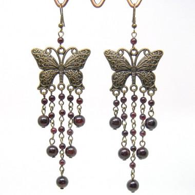 """Boucles d'oreilles """"papillons""""longues en grenat"""