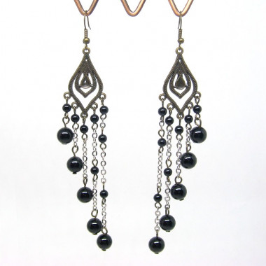 Boucles d'oreilles vintages pendantes en pierre onyx rondes