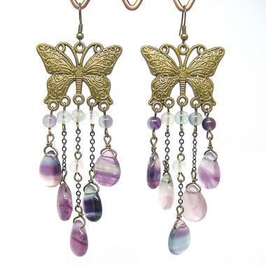"""Boucles d'oreilles """"papillons"""" vintage en fluorite"""