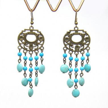 Boucles d'oreilles style vintage en turquoise