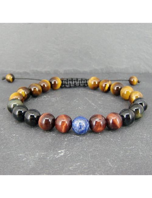 Bracelet homme les 3 oeils et lapis lazuli